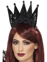 Smiffys Evil Queen Crown, Black, on Headband - 46822