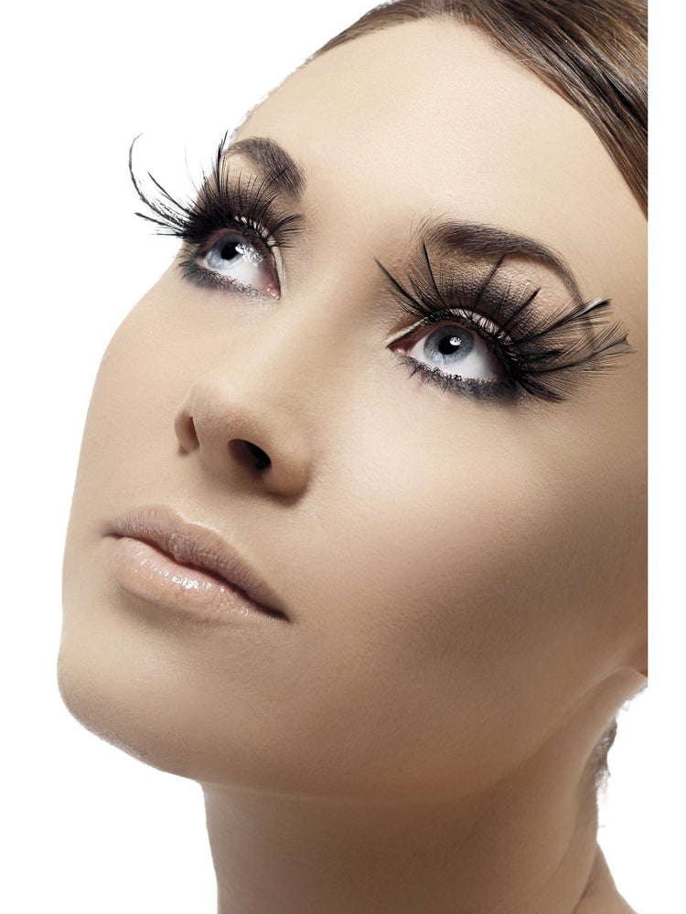 Eyelashes, Black with Feather Plumes