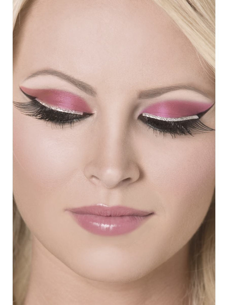 Eyelashes, Black with Silver Glitter