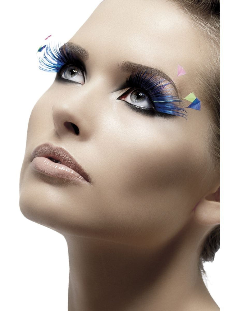 Eyelashes, Blue with Feather Plumes