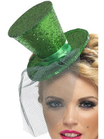 Fever Mini Top Hat on Headband, Green