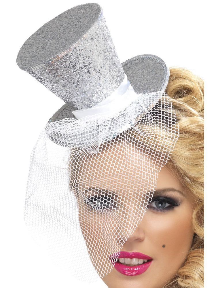 Fever Mini Top Hat on Headband, Silver