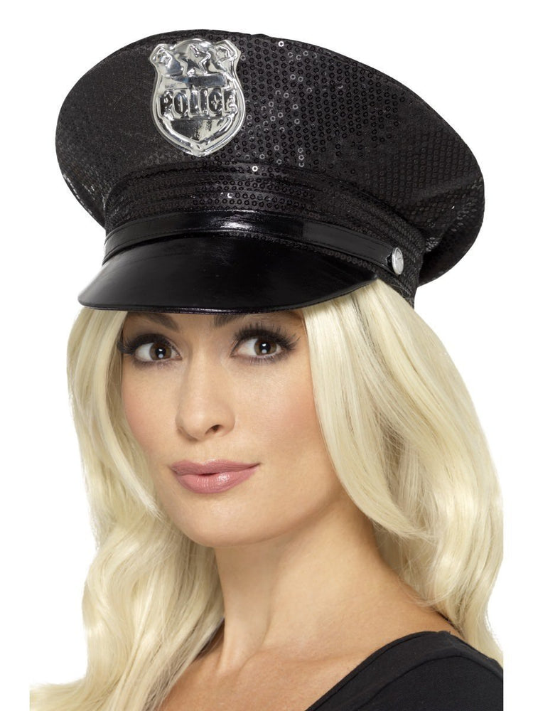 Smiffys Fever Sequin Police Hat - 46988