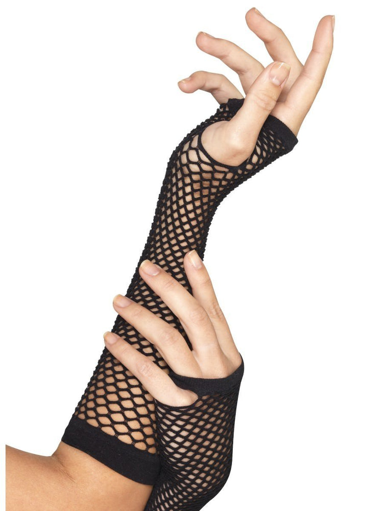 Smiffys Fishnet Gloves, Long, Black - 34872