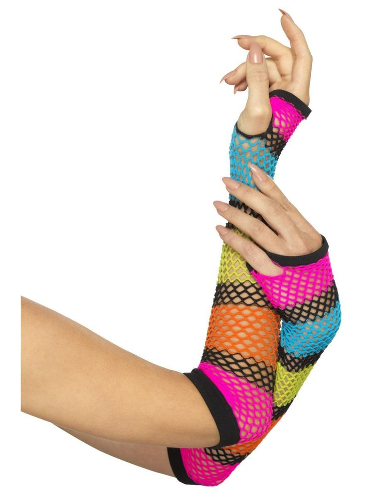 Smiffys Fishnet Gloves, Long, Neon, with Black Stripe - 44995