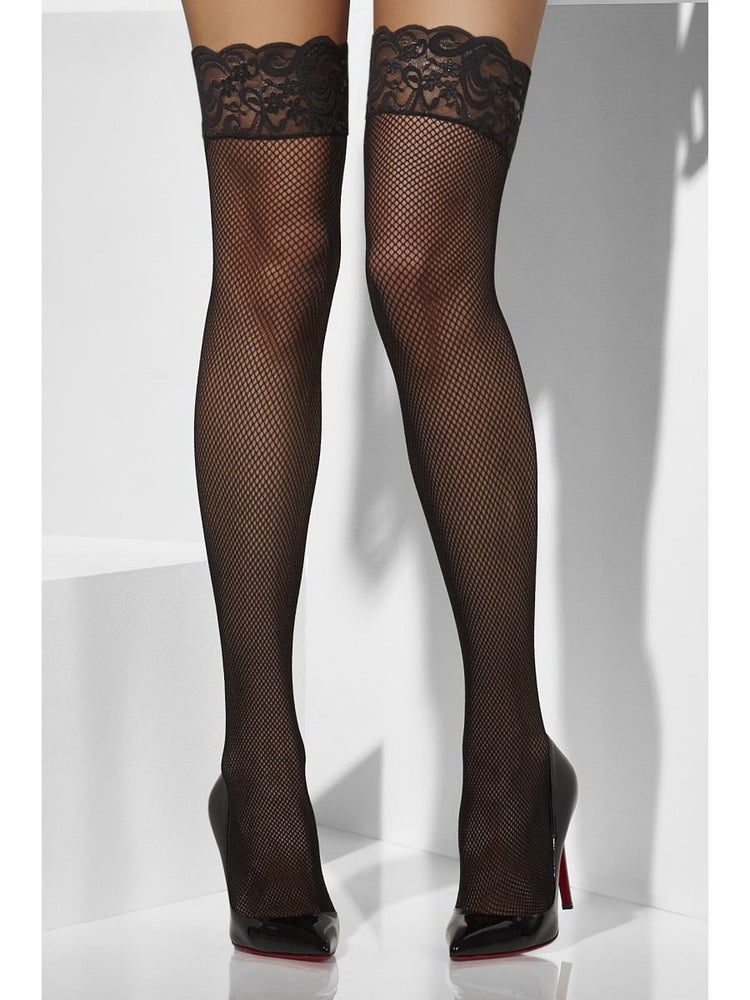 Fishnet Hold-Ups with Black Lace