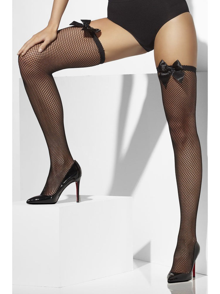 Fishnet Hold Ups Stockings w/ Bow, Black