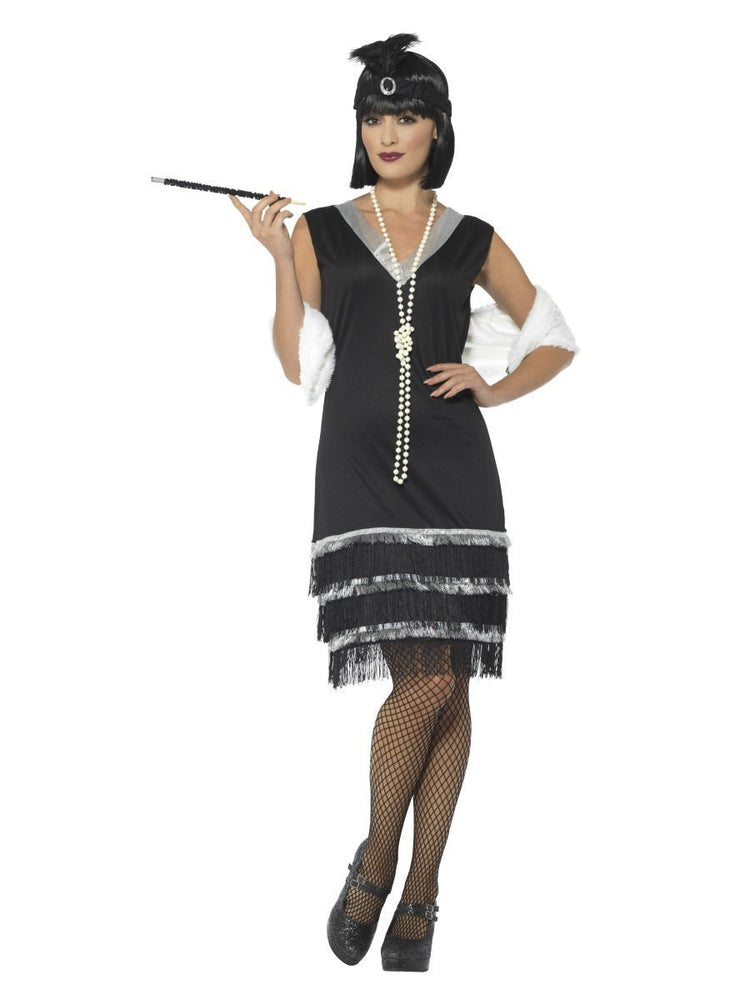 Flapper Costume, Black, with Dress & Fur Stole43128