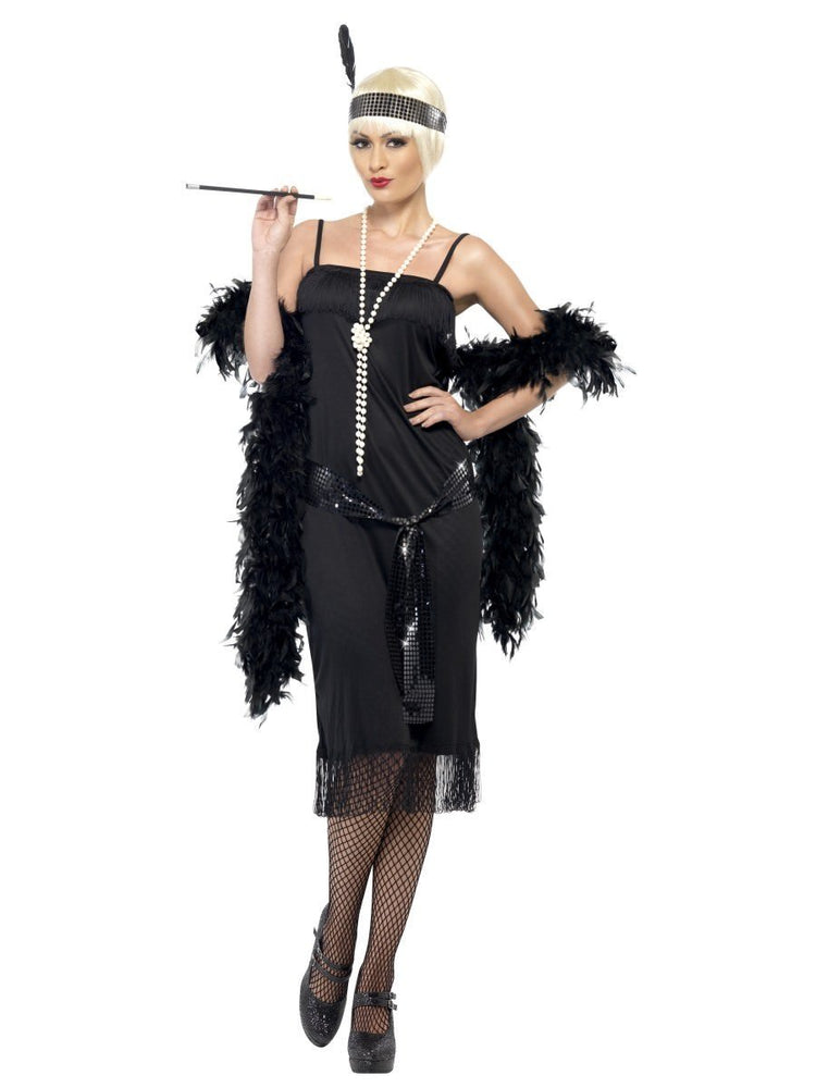 Flapper Dress Sash BLK (S)