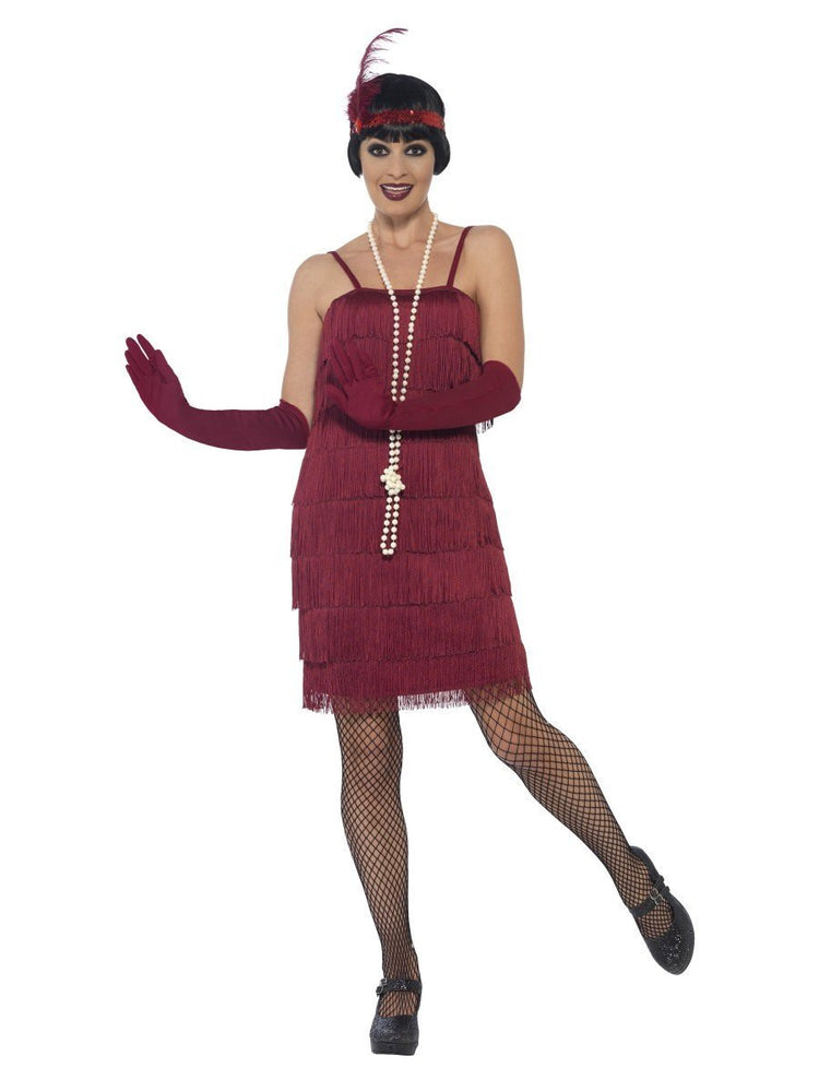 Smiffys Flapper Costume, Burgundy Red, with Short Dress - 44675