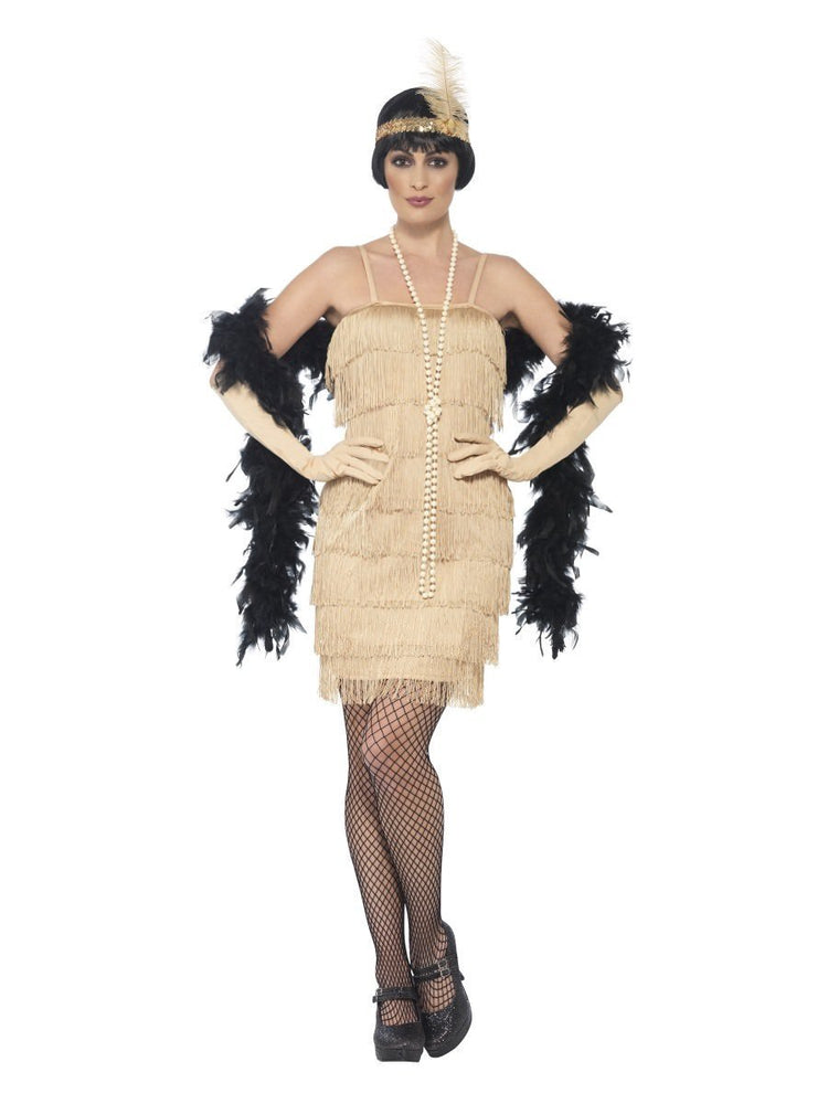 Smiffys Flapper Costume, Gold, with Short Dress - 44678