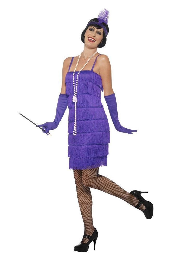 Smiffys Flapper Costume, Purple, with Short Dress - 45500