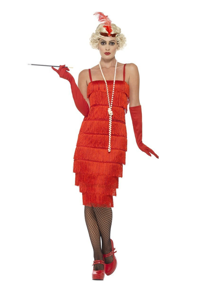 Smiffys Flapper Costume, Red, with Long Dress - 45501