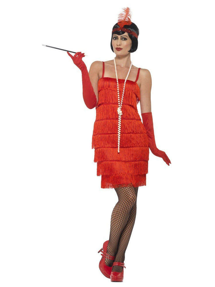 Smiffys Flapper Costume, Red, with Short Dress - 45499