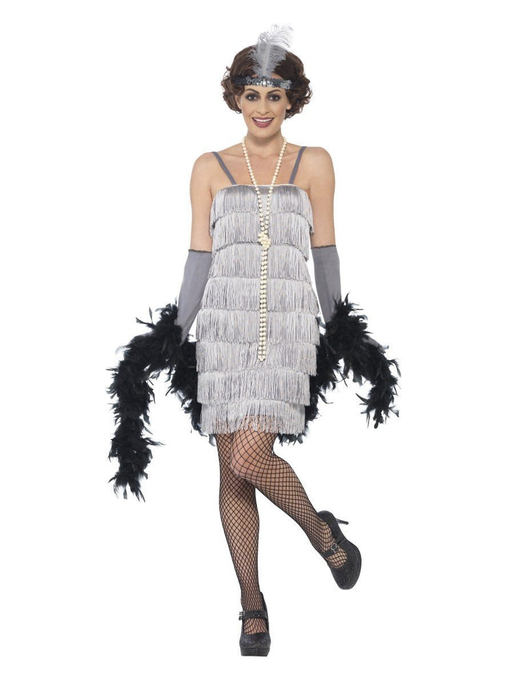 Smiffys Flapper Costume, Silver, with Short Dress - 44671