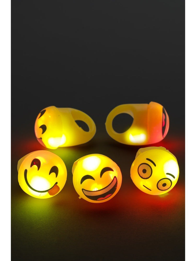 Smiffys Flashing Cartoon Face Rings - 22446