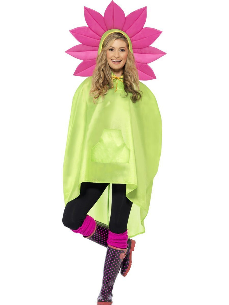 Flower Party Poncho, Green