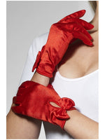Gloves Red Short With Bow