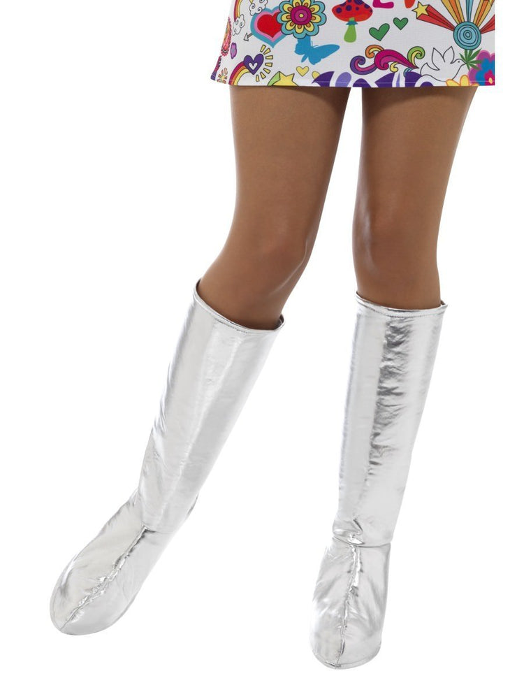 Smiffys GoGo Boot Covers, Silver - 43068