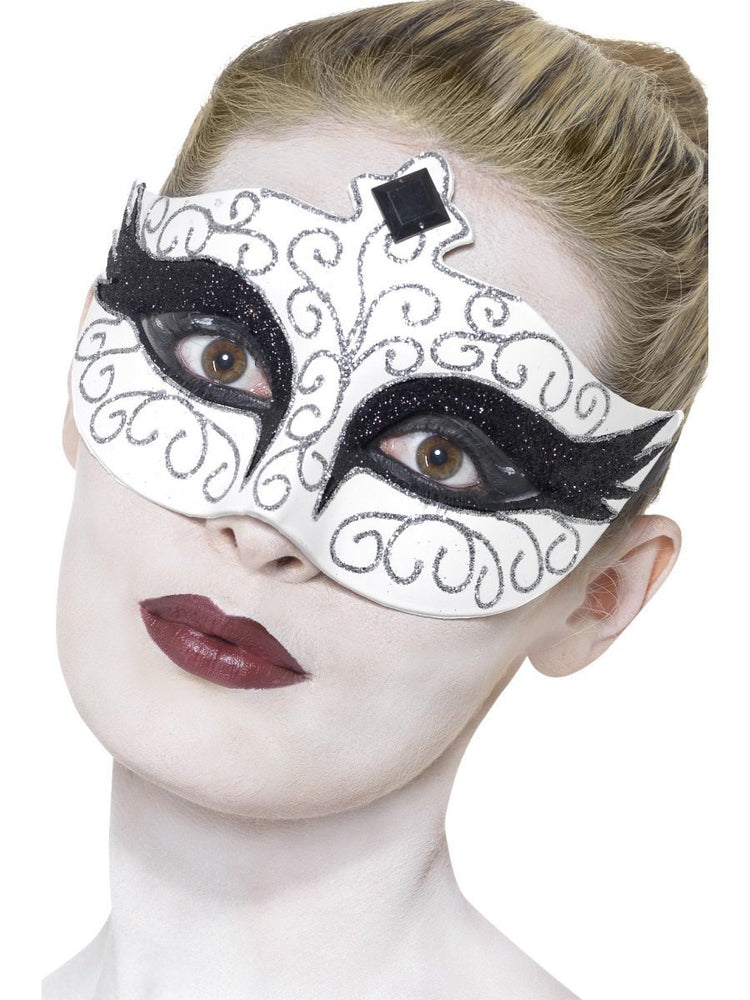 White Gothic Swan Eye Mask