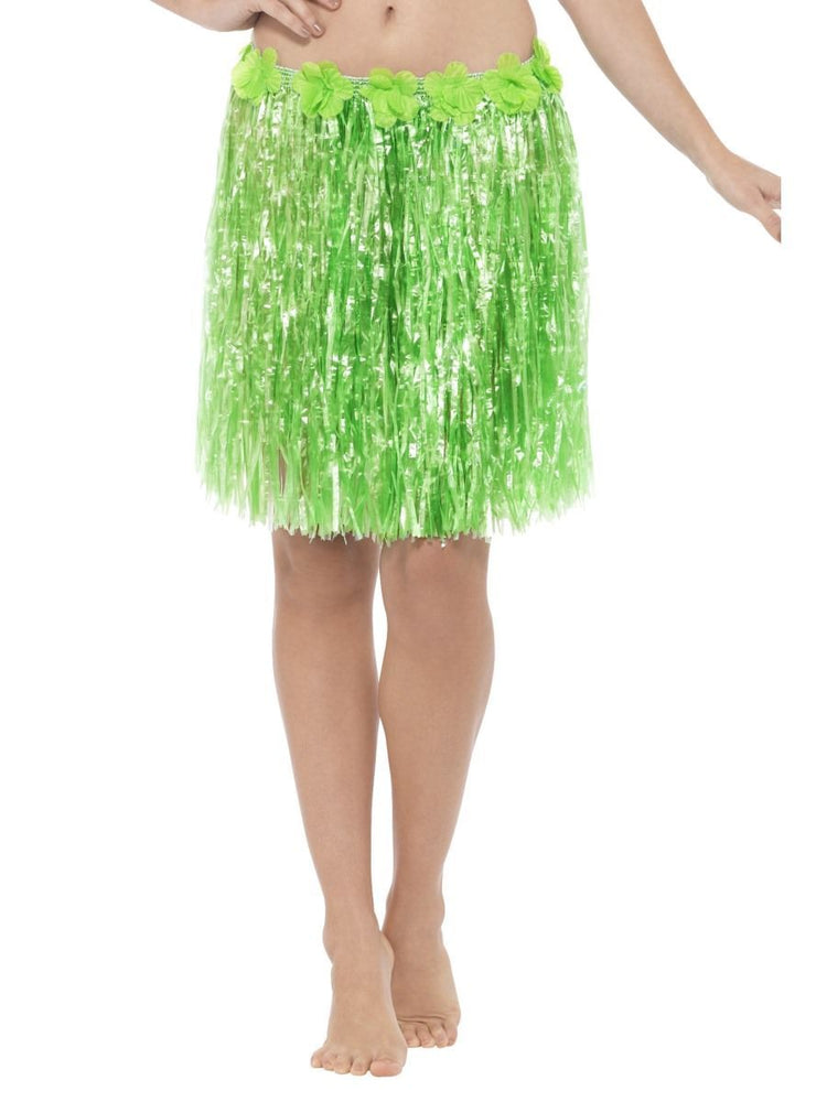 Smiffys Hawaiian Hula Skirt with Flowers, Neon Green - 45554