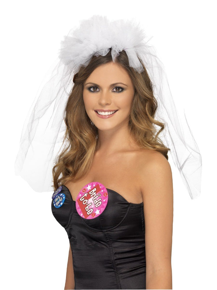 Smiffys Hen Night Veil on Headband - 26836