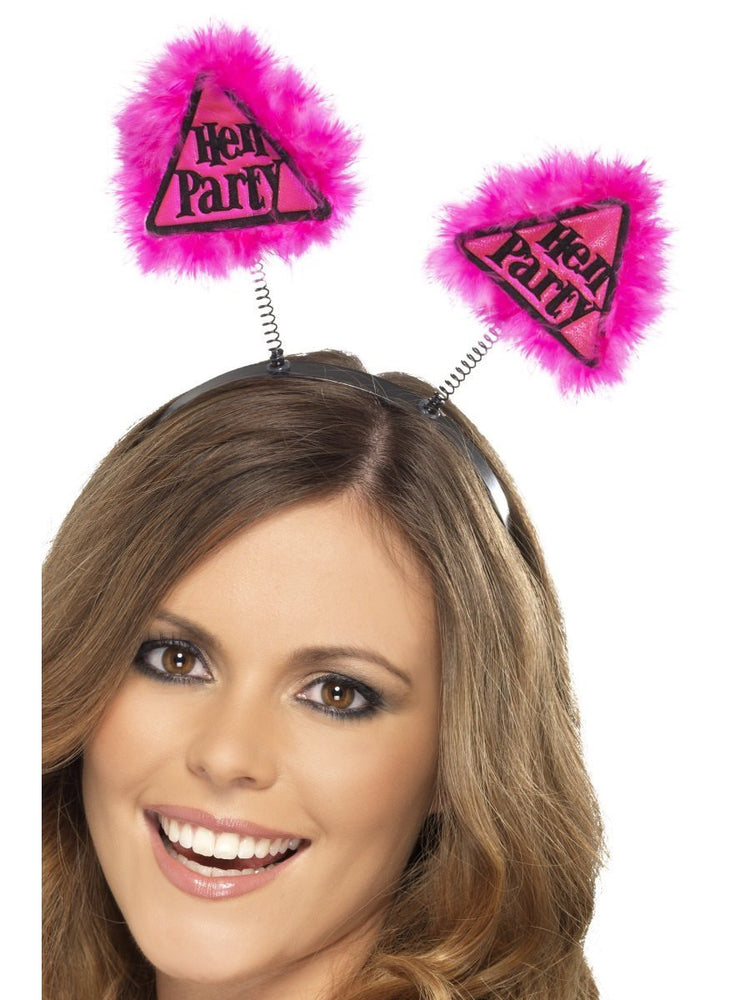 Hen Party Boppers Headband Pink Warning