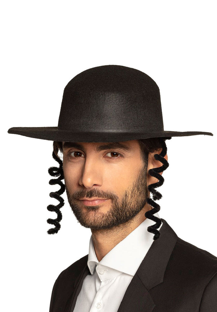 Rabbi Hat with Attached Curls