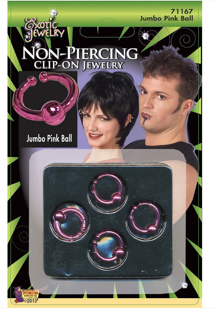 Ball Ring Body Clip-On Piercing Pink