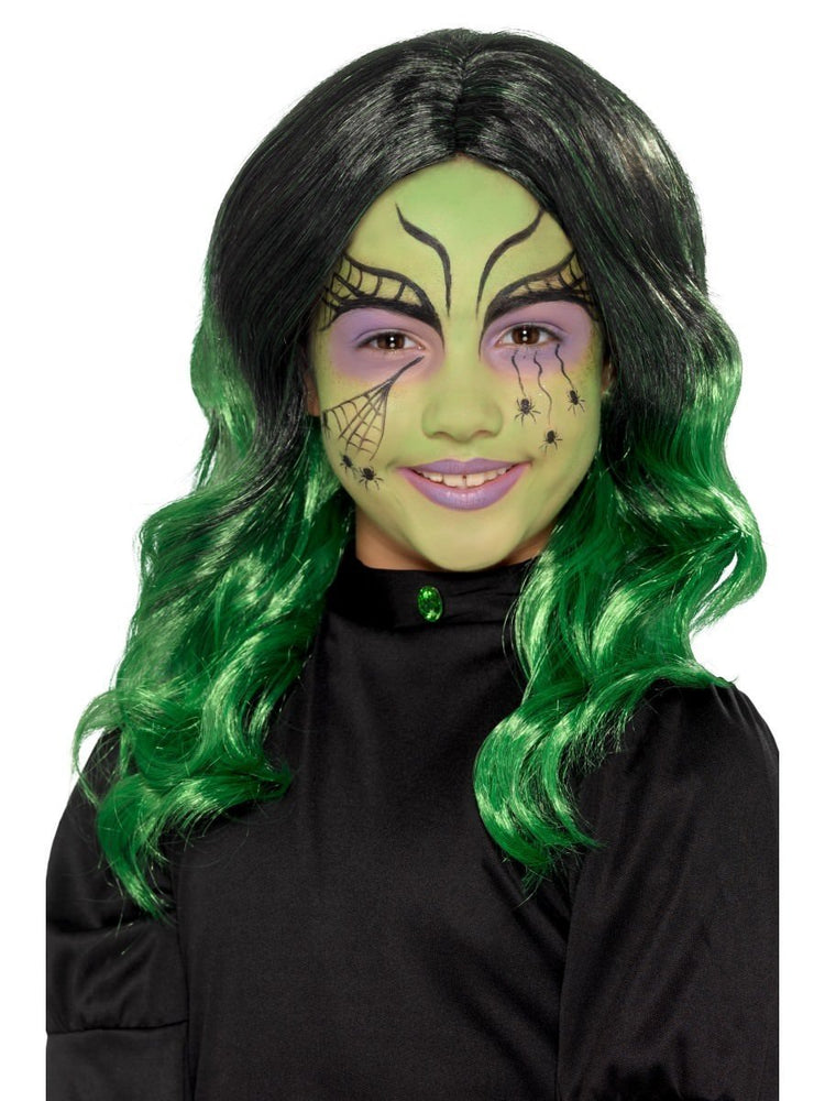 Witch Wig Black & Green, Child