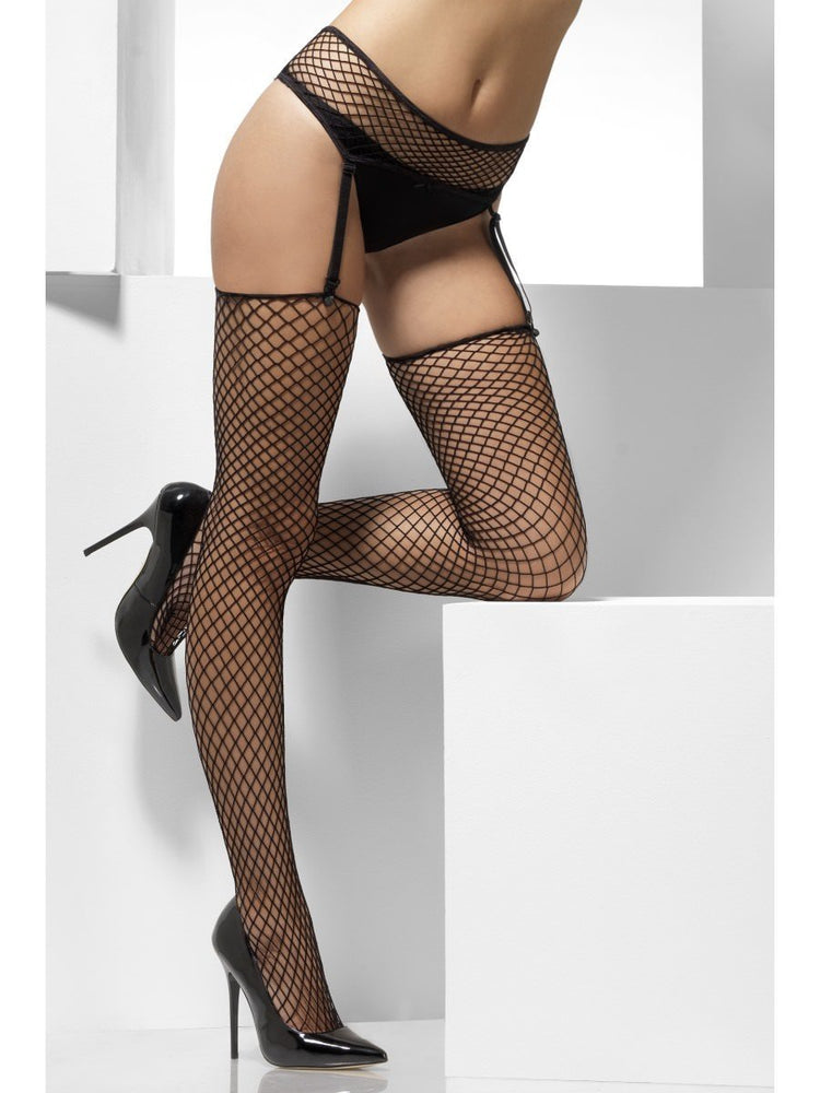 Smiffys Lattice Net Hold-Ups, Black, with Suspender Belt - 24597