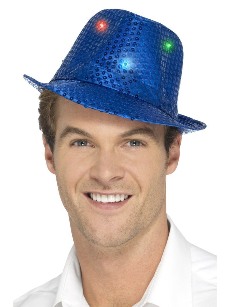 Smiffys Light Up Sequin Trilby Hat, Blue - 47065