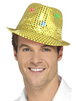 Smiffys Light Up Sequin Trilby Hat, Gold - 47069