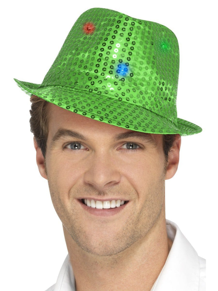 Smiffys Light Up Sequin Trilby Hat, Green - 47064