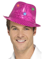 Smiffys Light Up Sequin Trilby Hat, Pink - 47070