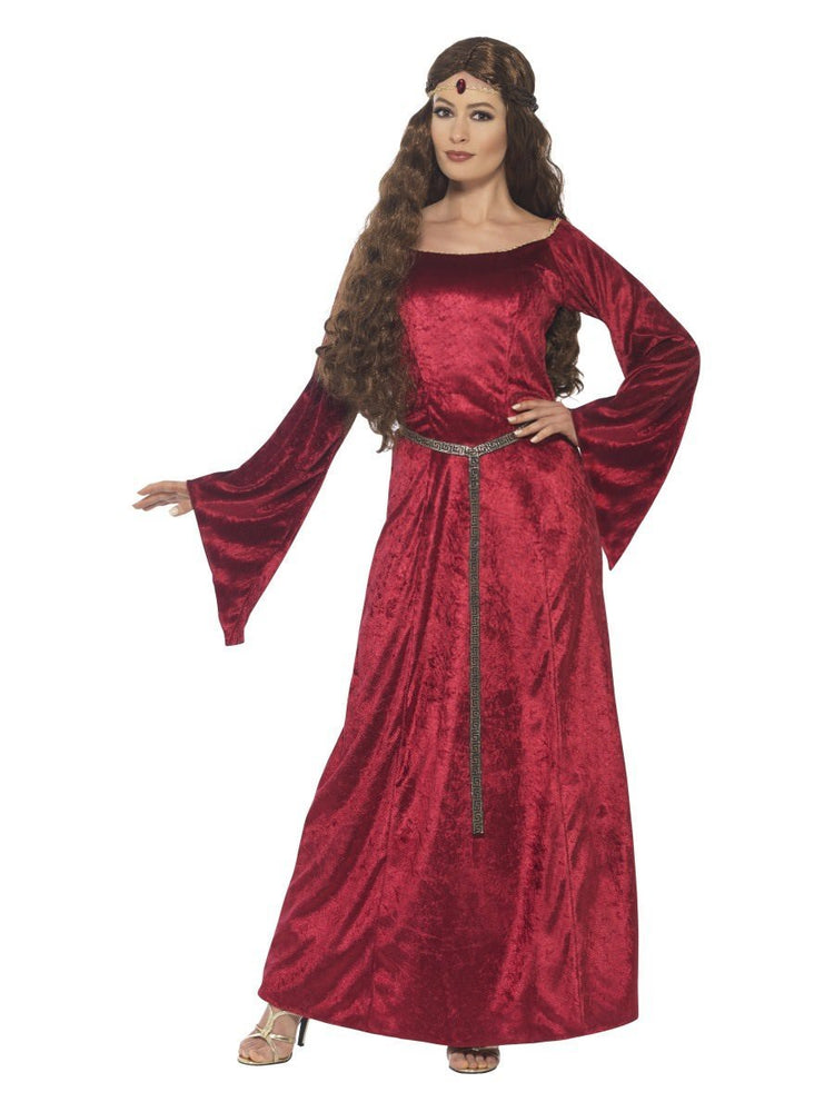 Smiffys Medieval Maid Costume, Red - 44682