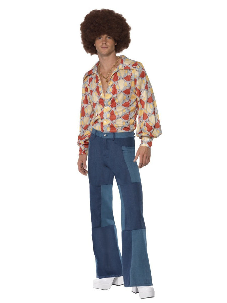 Smiffys Men's Patchwork Flares, Denim Look - 33838