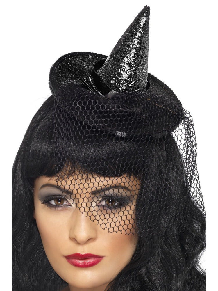 Witch's Mini Hat Glitter w Netting