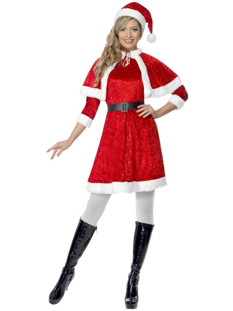 Smiffys Miss Santa Costume, with Cape & Belt - 29005