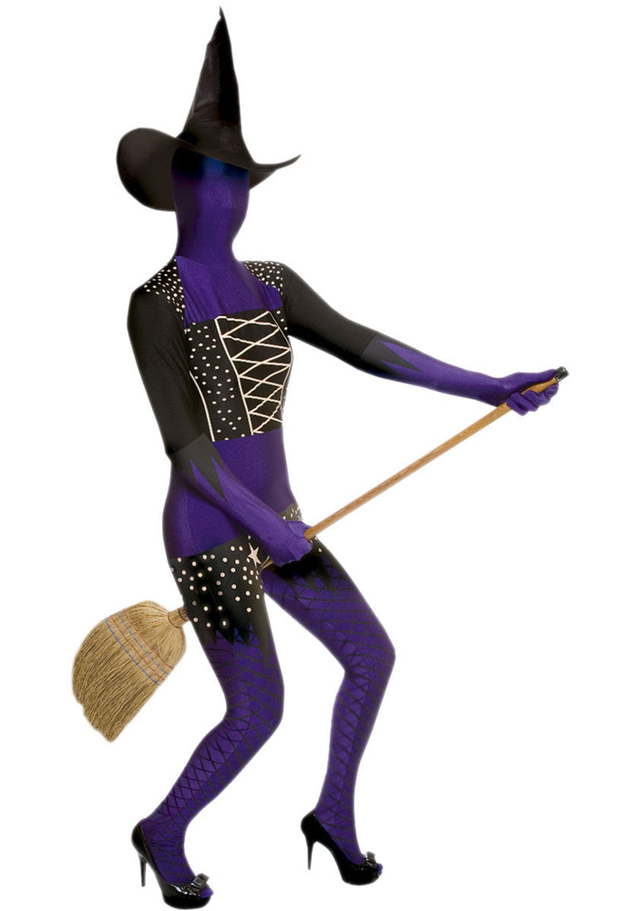 Morphsuit Purple Witch Costume, Witch Fancy Dress