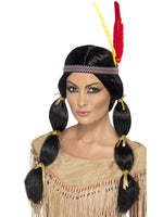 Smiffys Native American Inspired Wig, with Pigtails - 42449