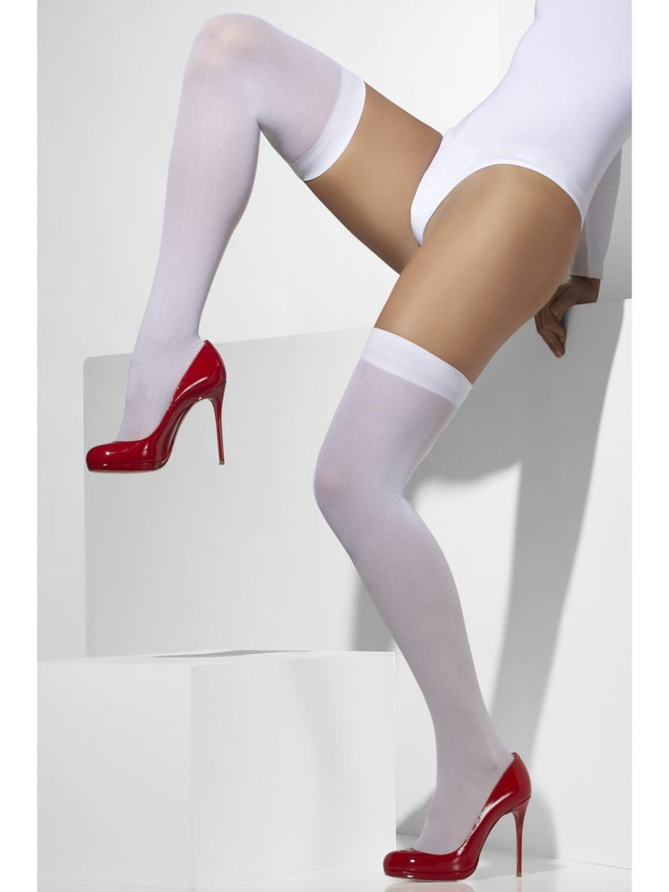 Hold Up - Knee Length Stockings, Opaque White