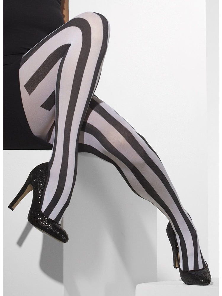 Smiffys Opaque Tights, Black & White - 24549