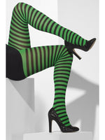 Opaque Tights, Green and Black Striped