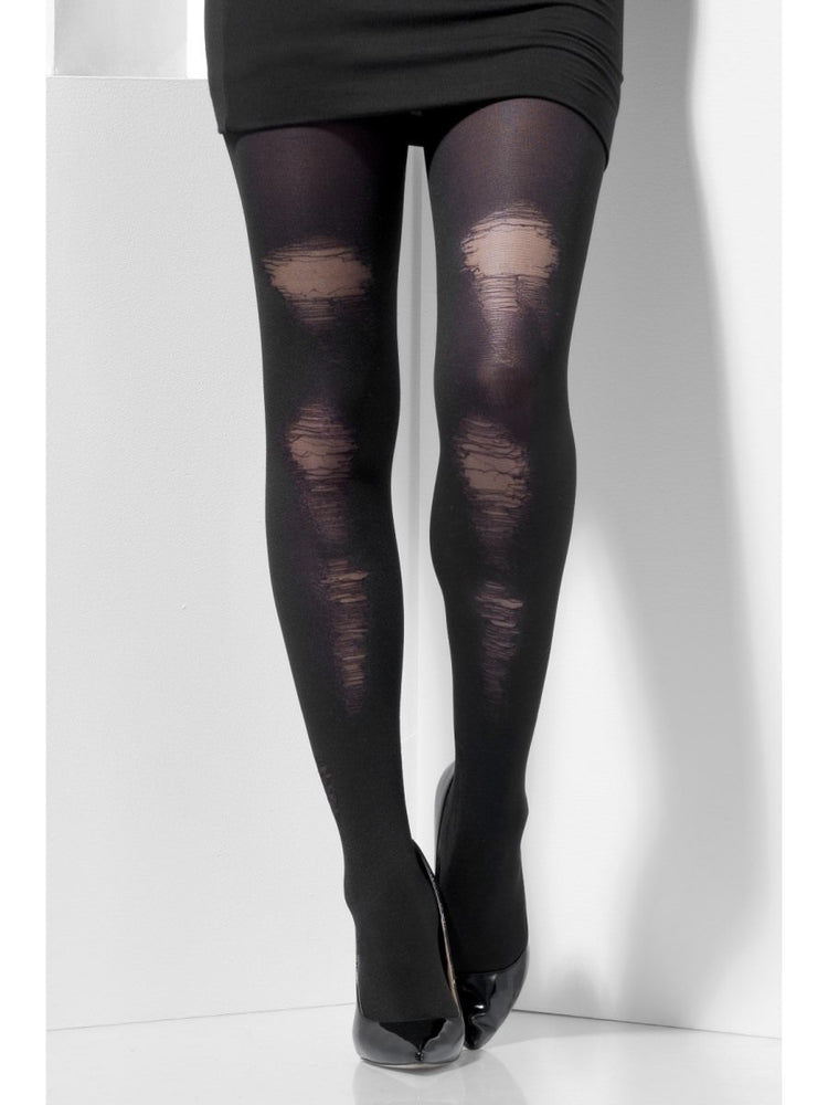 Smiffys Opaque Tights, Black, with Distressed Detail - 44443