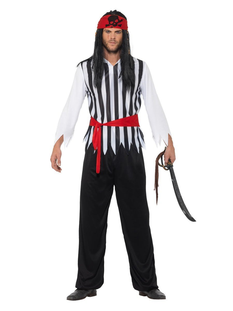 Smiffys Pirate Costume, Black & White - 47205