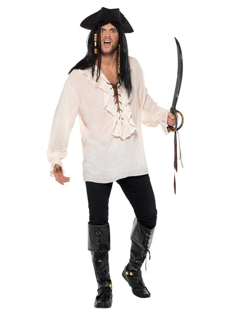 Smiffys Pirate Shirt, Ivory, with Lace Up Front - 40383