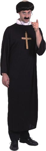 Priest Costume, Robe, Collar Smiffys fancy dress