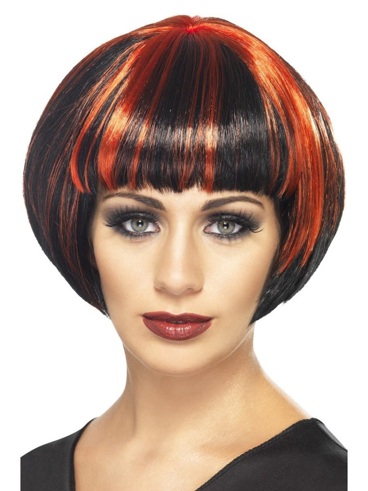 Quirky Bob Wig, Black W/ Red Streaks