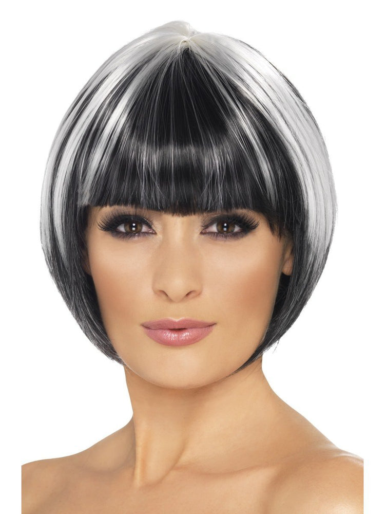 Quirky Bob Wig Black W/ White Streaks